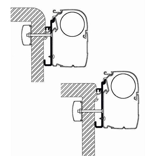 Adapter THULE Omnistor Rapido Serie 7 8 9 400 cm für Wandmontage
