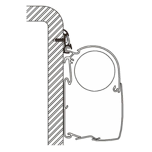 Adapter THULE OMNISTOR Luxus Kederleistenprofil 600 cm für Wandmontage
