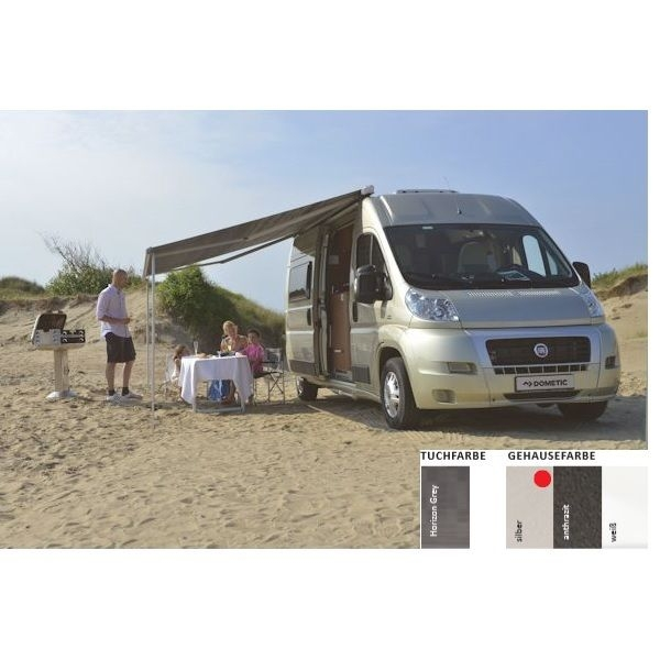 Markise DOMETIC Perfect Roof 2000 Horizon grey Fiat Ducato 400 cm Gehäuse silber