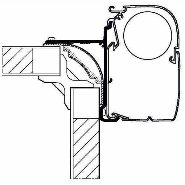 Adapter THULE Omnistor Hight Top 350 cm für Wandmontage
