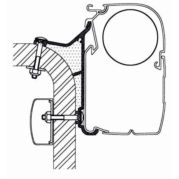Adapter THULE Omnistor Hymer B2 Klasse 600 cm für Wandmontage