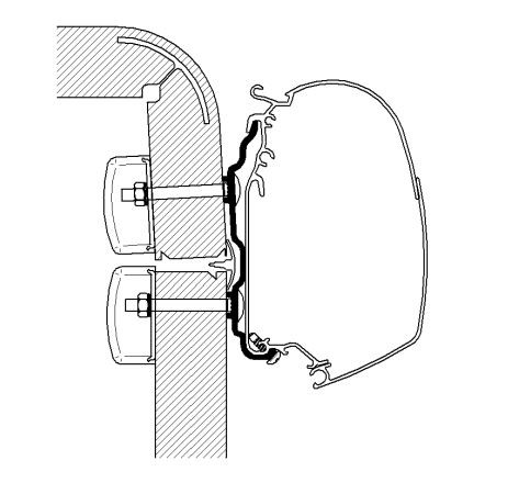 Adapter THULE OMNISTOR Hymer 2016 400 cm für Wandmontage