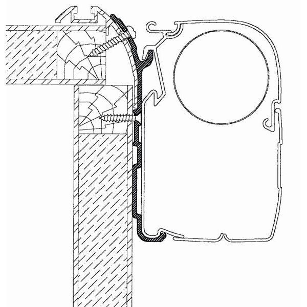 Adapter THULE OMNISTOR Eura Mobil 350 cm für Wandmontage