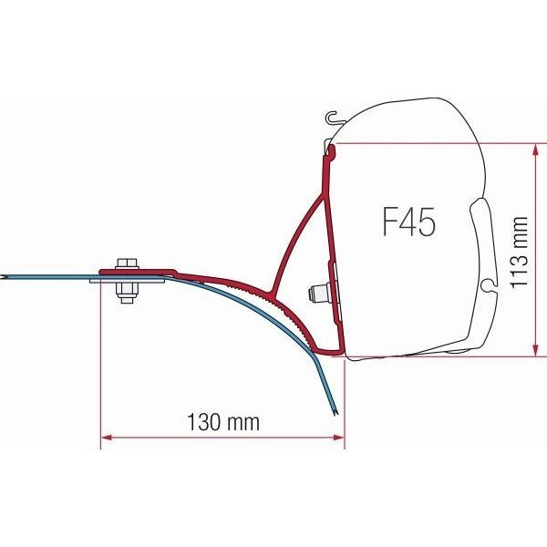 Adapter FIAMMA Kit Fiat Ducato mit Dachreling > Bj. 2007 für F45 F70 ZIP