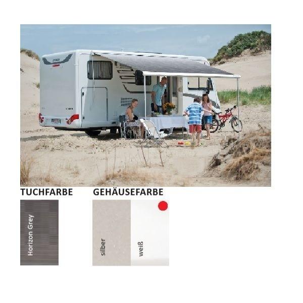 Markise DOMETIC Perfect Wall 1500 Horizon grey 350 cm Gehäuse weiß