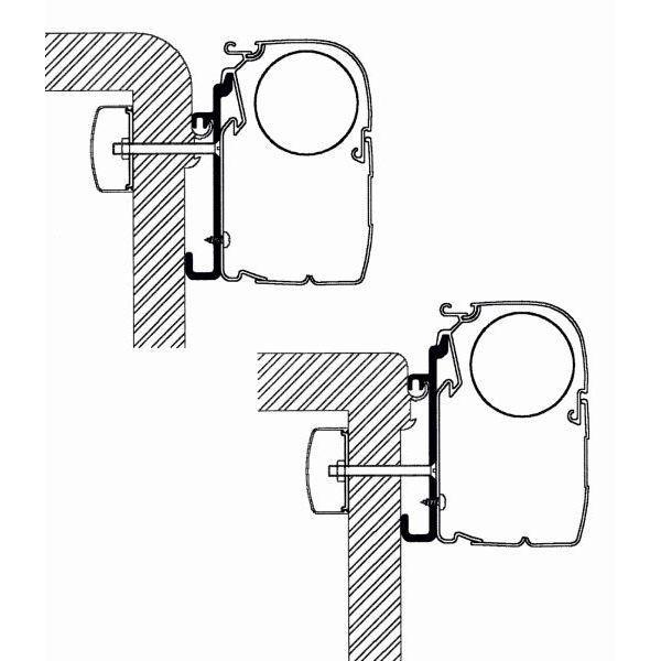 Adapter THULE Omnistor Rapido Serie 7 Set für Wandmontage