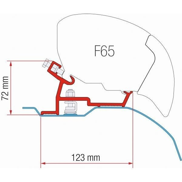 Adapter FIAMMA Fiat Ducato Jumper High Roof X250 bis 370 cm schwarz für F80 F65