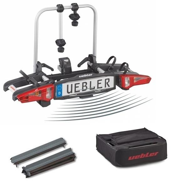 UEBLER i21 Fahrradträger 15900DC 2 Räder Rückfahrkontrolle inkl. Tasche und Auffahrschiene