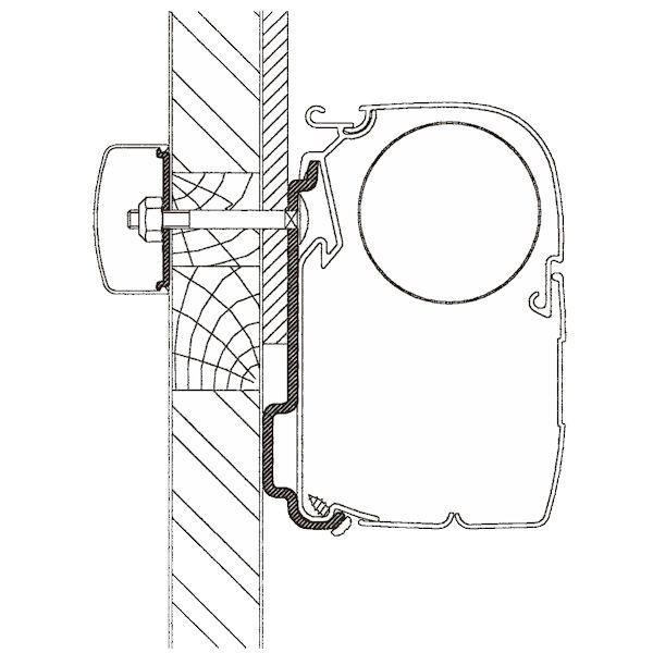 Adapter THULE Omnistor Chausson Allegro bis Modelljahr 2010 350 cm für Wandmontage