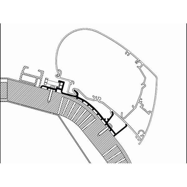 Adapter THULE Omnistor Carthago Malibu 500 cm für Dachmontage