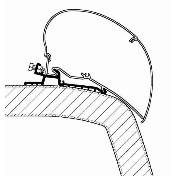 Adapter THULE OMNISTOR Hymer SX 350 cm für Dachmontage