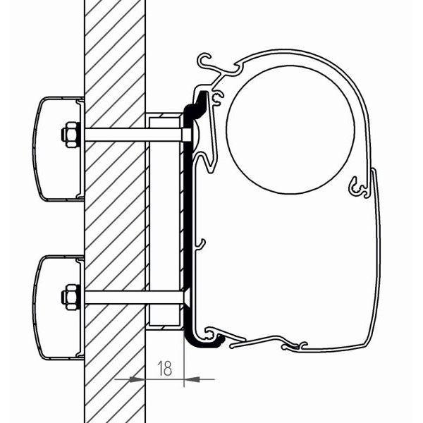 Adapter THULE Omnistor Dethleffs Globebus Serie 8000 400 bis 600 cm für Wandmontage