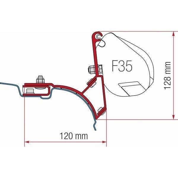 Adapter Kit FIAMMA VW T5 T6 Multivan Transporter 2 x 21,5cm für F35