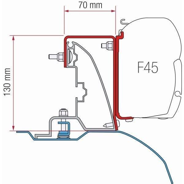 Adapter FIAMMA Kit Fiat Ducato H2 Roof Rail > Bj. 2007 für F45 F70 ZIP