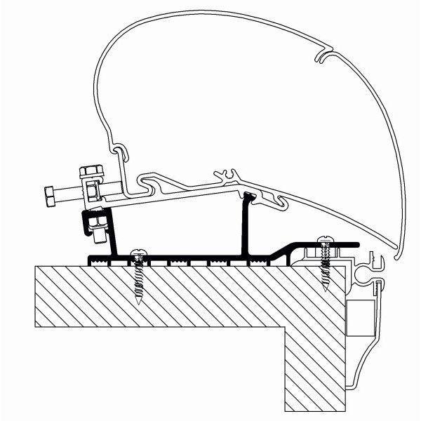 Adapter THULE Omnistor Hobby Caravan ab Modelljahr 2009 bis Modelljahr 2014 für Dachmontage