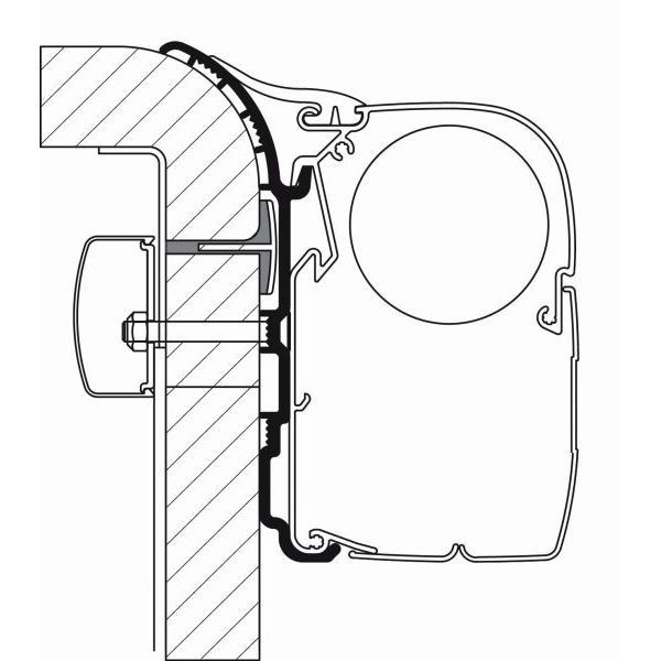Adapter THULE Omnistor Bürstner 450 cm für Wandmontage