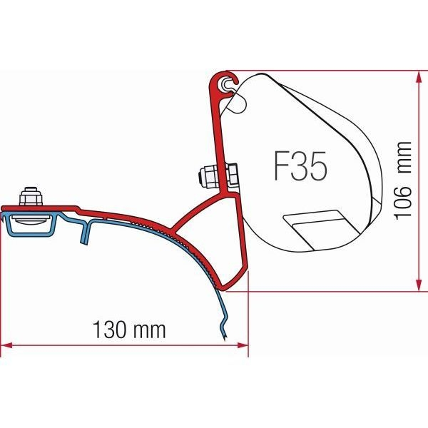 Adapter FIAMMA Kit VW T5 T6 Multivan Transporter mit C-Schiene für F35